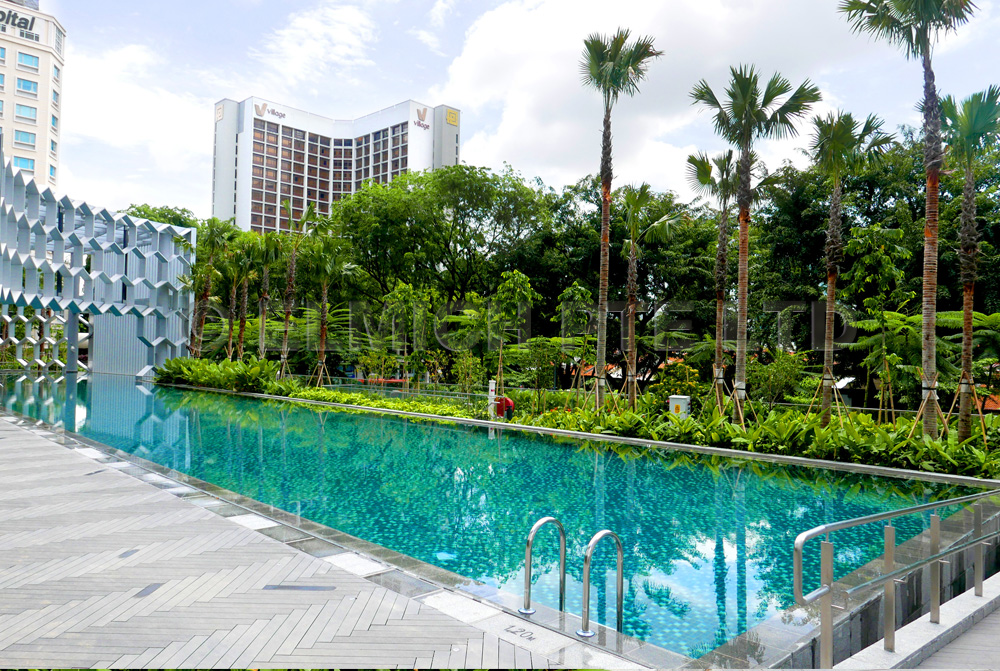 Photo above: DUO Residences - Planter boxes waterproofed by EVALON® surrounding 50m Lap Pool and Spa Pool at Level 2.