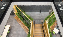 The atrium green wall using VersiWall GT system as viewed from above.