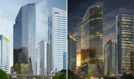 Artist rendition of Menara Etiqa in the day and at night. (Photo from turnerconstruction.com)