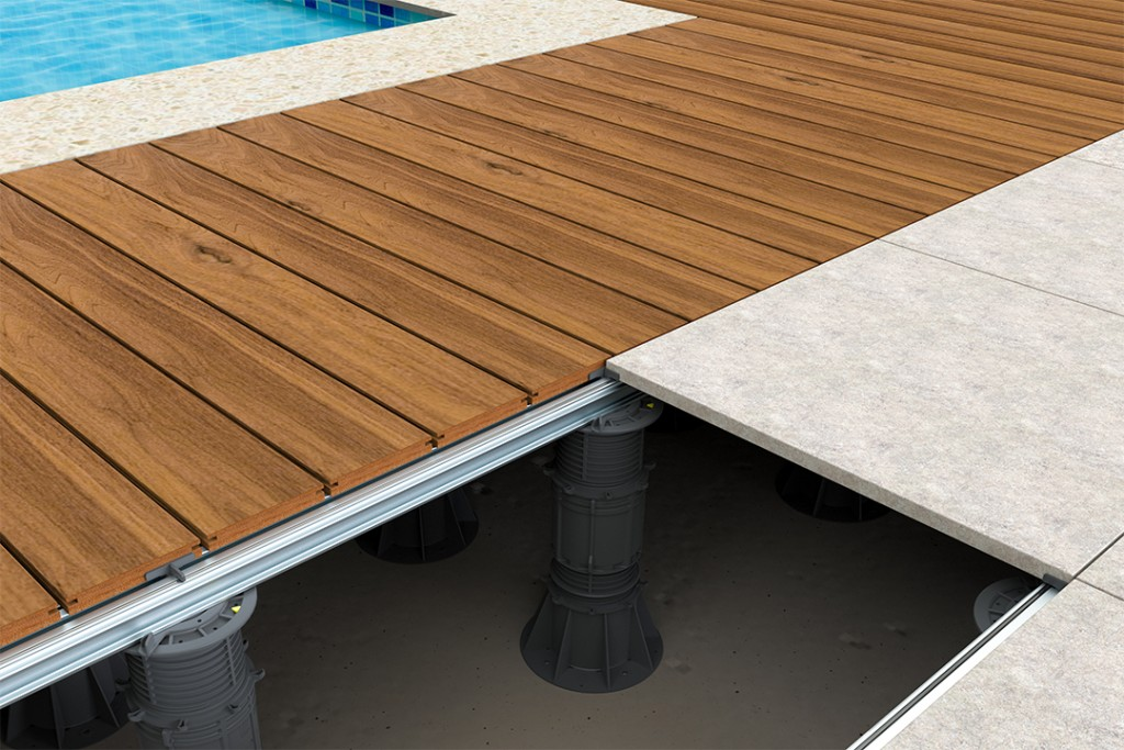 Mixed use of paving and decking system in the same installation